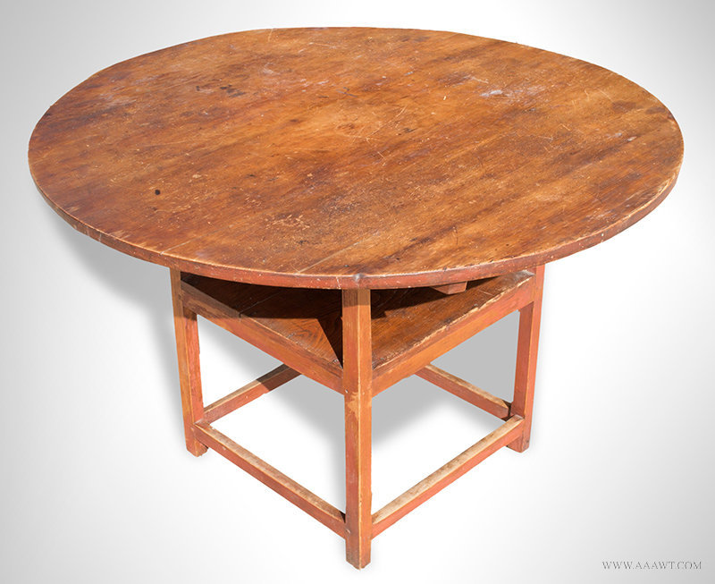 Antique Hutch/Chair Table with Round Top, New England, Circa 1800ish, closed - Antique Furniture_Tavern Tables, Chair Tables, Hutch Tables, Harvest