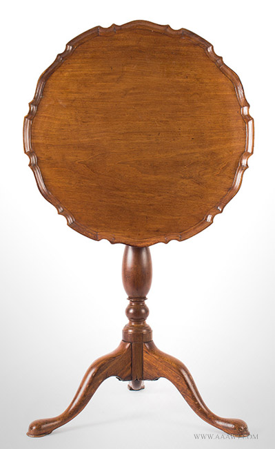Antique Tilt Top Candlestand with Piecrust Edge, 18th Century, top up view