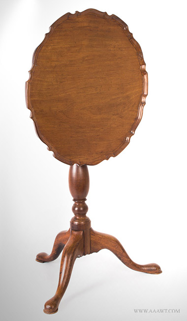 Antique Tilt Top Candlestand with Piecrust Edge, 18th Century, angle view 2