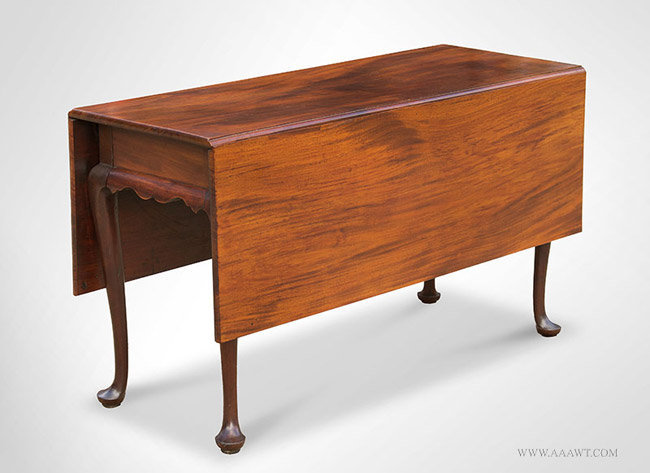 Antique Queen Anne Drop Leaf Dining Table, Massachusetts, Circa 1760, closed angle view