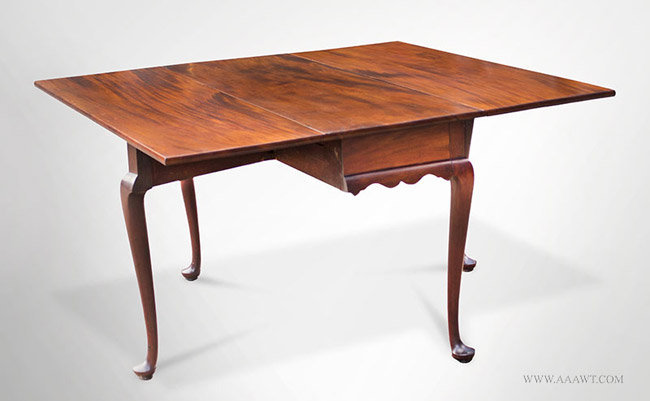 Antique Queen Anne Drop Leaf Dining Table, Massachusetts, Circa 1760, Open  Angle View