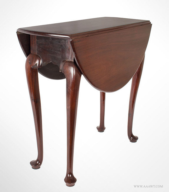Antique Queen Anne Mahogany Drop Leaf Table with Great Color and Patina, 1740 to 1760, closed angle view