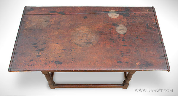 Large Antique Tavern Table in Refectory Form, Massachusetts, Circa 1720, top view