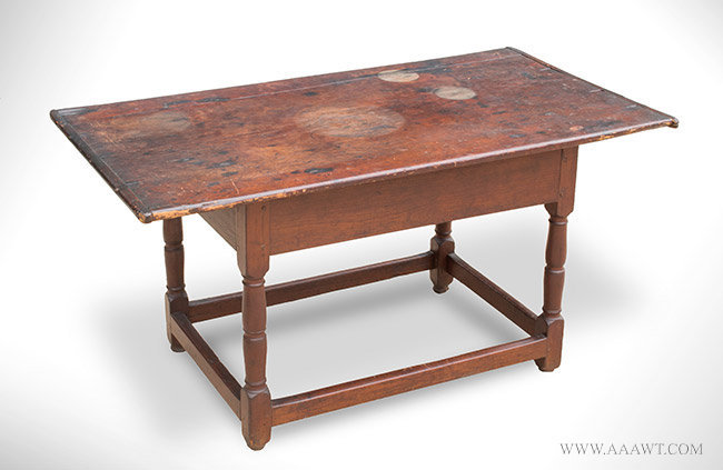 Large Antique Tavern Table in Refectory Form, Massachusetts, Circa 1720, angle view