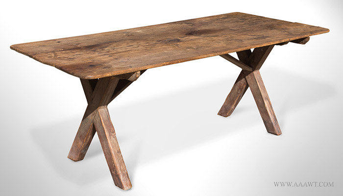 Antique Sawbuck Table in Original Surface History, New England, Circa 1840, angle view