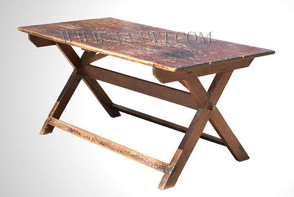 Table, Sawbuck, Large Size, Old Red Paint New England, Early 19th Century, angle view