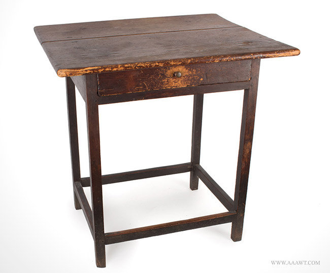 Antique Country Chippendale Table in Original Brownish-Red Surface, Circa 1800, angle view