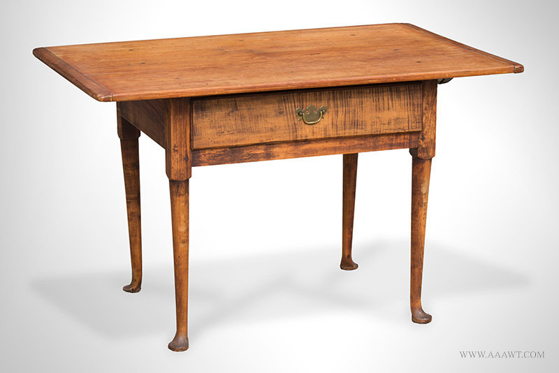 Antique Queen Anne Tavern Table with Pad Feet, New England, 18th Century, angle view