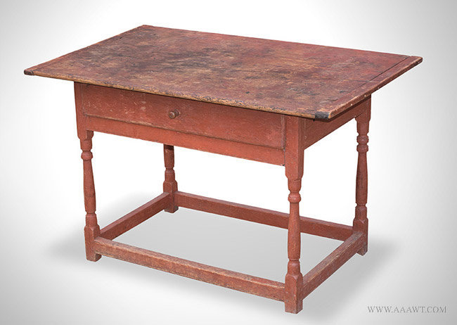 Antique Tanvern Table in Original Red Paint, 18th Century, angle view 1