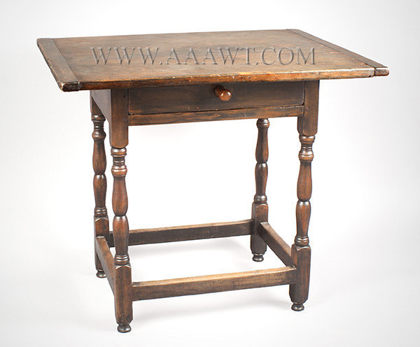 Tavern Table, Small Size, William and Mary New England Circa 1730, angle view