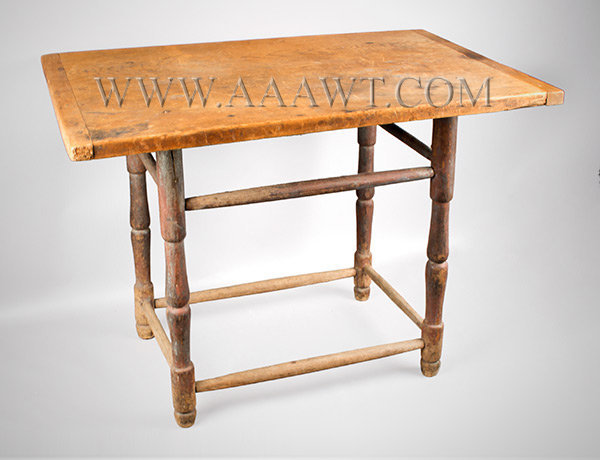 Windsor Tavern Table, Original Surface, Rectangular Top Late 18th Century, angle view