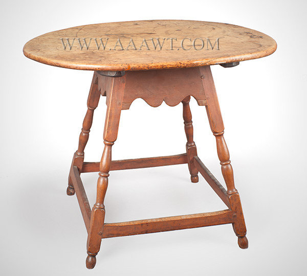 Queen Anne Tavern Table, Splay Legs, Oval Top, Scalloped Aprons, Turned Legs New England, Circa 1725 to 1750, angle view