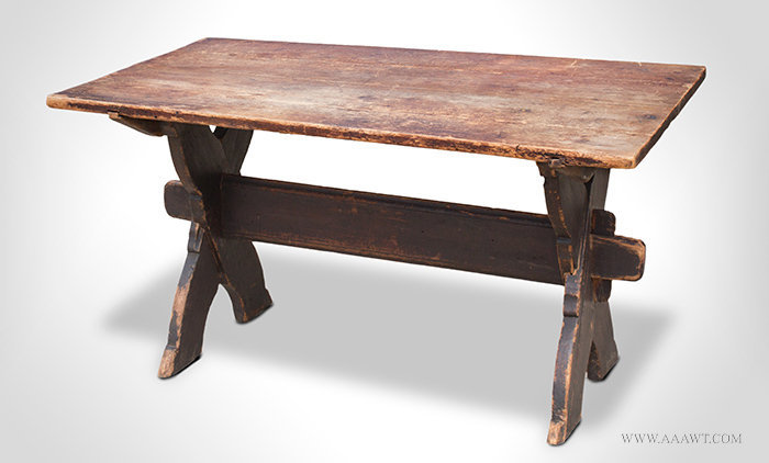 Antique Sawbuck Table with Shaped X form Base, Circa 1750, angle view 2