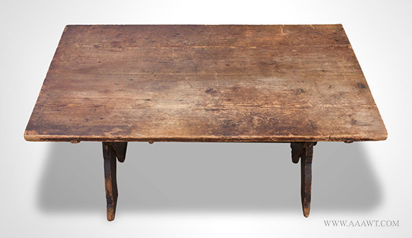 Antique Sawbuck Table with Shaped X form Base, Circa 1750, angle view 4