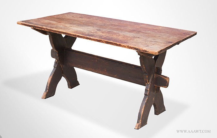 Antique Sawbuck Table with Shaped X form Base, Circa 1750, angle view 1