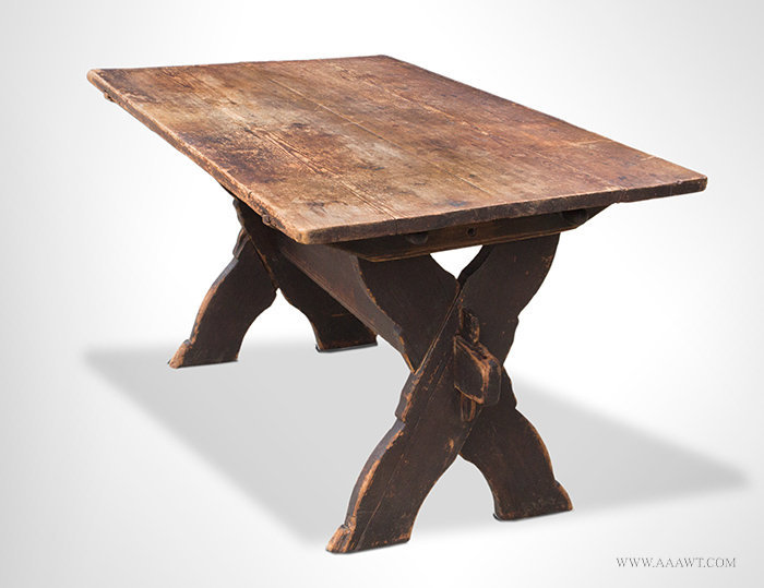 Antique Sawbuck Table with Shaped X form Base, Circa 1750, angle view 3
