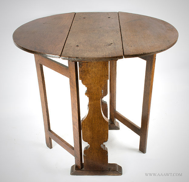 William And Mary Oak Tuck Away Table, Drop Leafs, Swing/Gate Legs,  Butterfly Hinges England, 18th Century