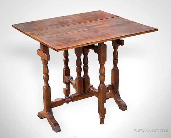 Tuck Away Table, Cherry Drop Leaf Table New England, 18th Century, entire view