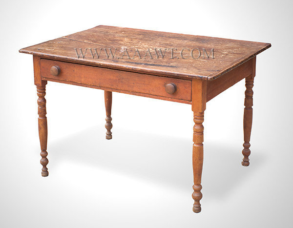 Work Table, Original Red Stain Early 19th Century New England, entire view