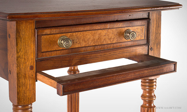 Antique Sheraton Work Table with Elliptical Molded Top, Circa 1815, bag frame detail