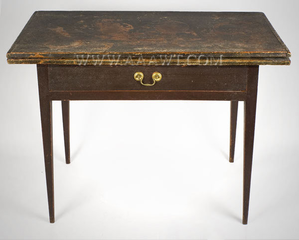 Table, Card Table, Original Paint Decorated Surface New England Circa 1810, entire view