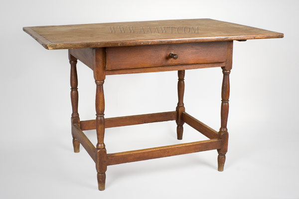 Antique Tavern Table with Drawer in Original Surface, New England, 18th Century, angle view