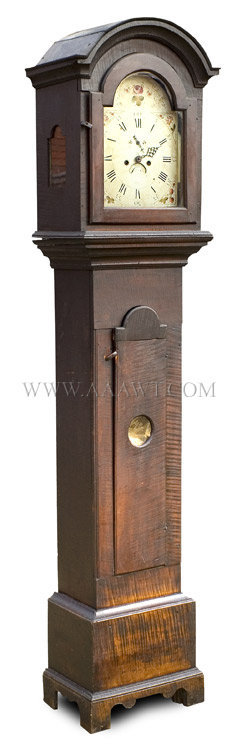 Clock, Tall Clock, Bold Curly Maple, Best Original Surface, As Found The molding, the surface, the integrity, the originality, country at its best A rarely encountered untouched case with 8 day movement New England 1793, angle view