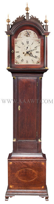 Tall Clock, Roxbury Case, Inlays, Connecticut River Valley, Original Surface Unknown Maker Circa 1800, entire view