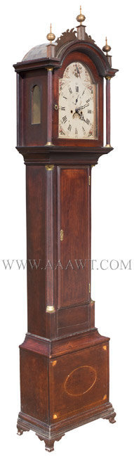 Tall Clock, Roxbury Case, Inlays, Connecticut River Valley, Original Surface Unknown Maker Circa 1800, angle view