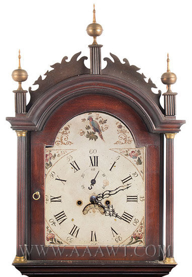 Tall Clock, Roxbury Case, Inlays, Connecticut River Valley, Original Surface Unknown Maker Circa 1800, top detail