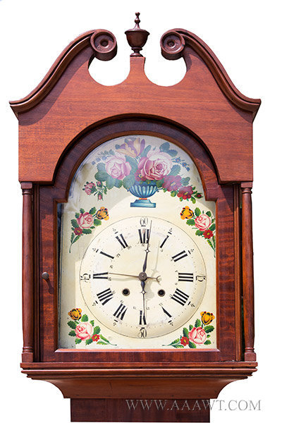 Antique Tall Clock with Polychrome Wooden Dial and Scrolled Pediment, Early 19th Century, hood and face detail