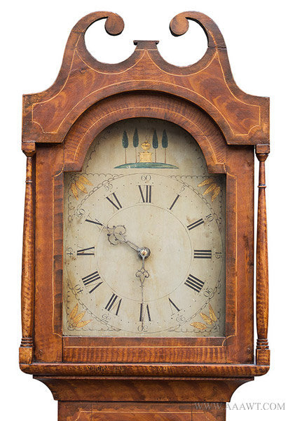 Antique Paint Decorated Tall Clock in Original Surface, Circa 1820, hood and face detail