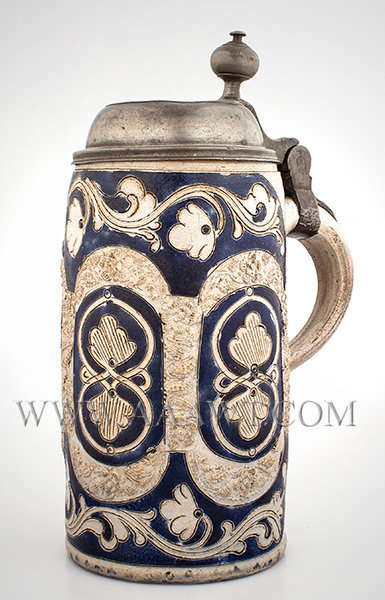 Salt Glazed Stoneware Lidded Tankard, Stein, Flower Decoration, Brushed in Blue