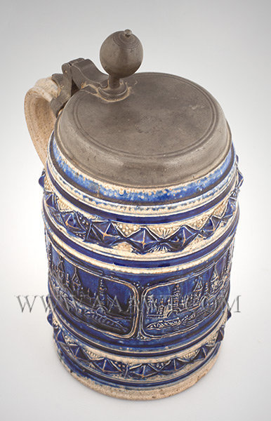 Salt Glazed Stoneware Lidded Tankard, Jerusalem, Extremely Rare    Westerwald    Circa 1685 to 1730, entire view
