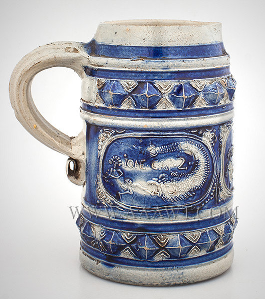 Westerwald Stoneware Tankard, Salt Glazed, Spouted Tankard, Jonah and the Whale,