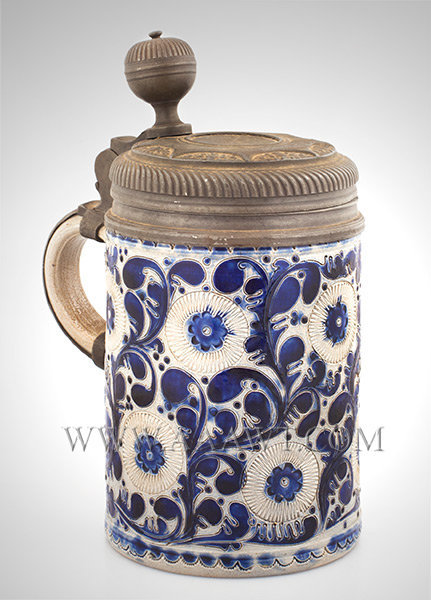 Salt Glazed Stoneware Lidded Tankard, Humpen, Outstanding Pewter Lid