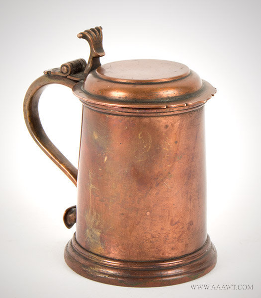 Tankard, Lidded, Silver Form, Half Pint, Copper Unknown Maker, entire view
