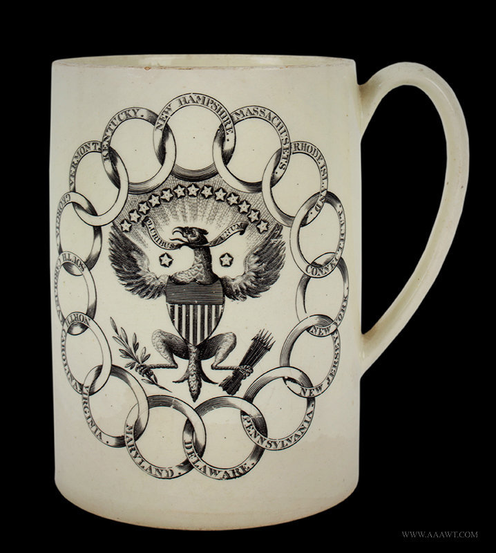 Antique Creamware Tankard with Thirteen States Transfer, Late 18th Century, side view 1
