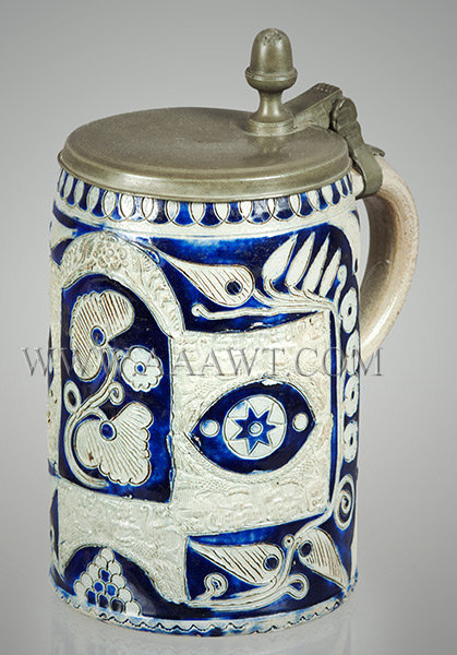 Salt Glazed Stoneware Tankard, Humpen, Westerwald, Swan Decoration    Westerwald Germany    Circa 1760, entire view