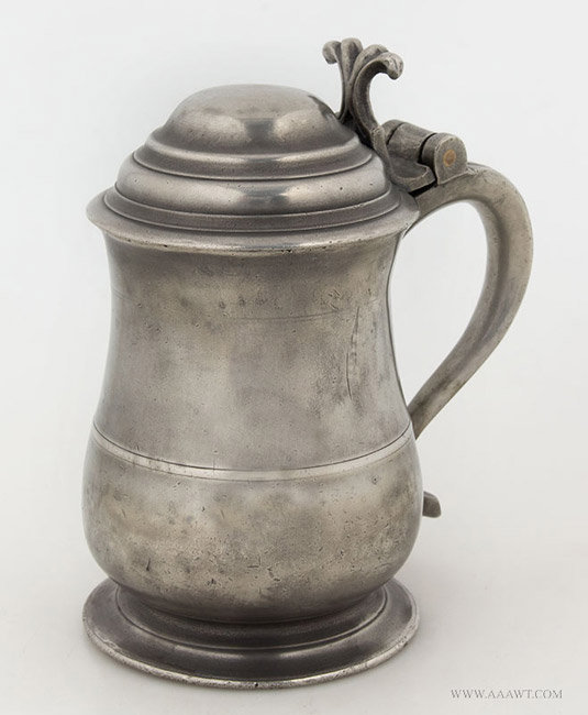 Antique Pewter Pint Tankard by Robert Banks, England, angle view