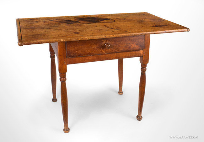 Antique Queen Anne Tavern/Work Table with Great Surface and Color, 18th Century, angle view