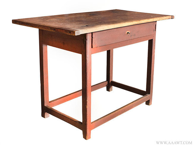 Antique Chippendale Tavern Table/Work Table in Original Red Paint, 18th Century, angle view