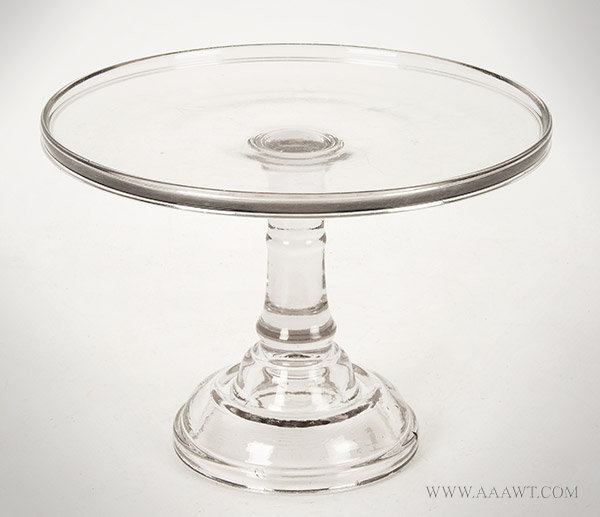 Cake Stand, Antique Salver, Mold Blown, Colorless Flint Glass, Domed Base