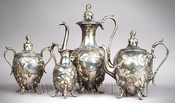 Four Piece Silver Plated Coffee and Tea Set, Daniel Webster Finials Signed, Taunton Britannia Silver Plate Company  Taunton, Massachusetts First half 19th Century, entire view