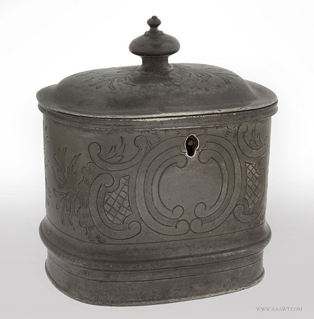 Antique Pewter Britannia Tea Caddy with Lock and Key, 19th Century, entire view