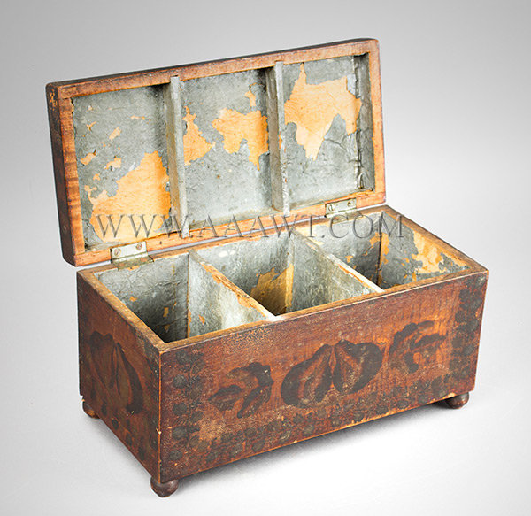 Tea Caddy, Paint Decorated, Estate of James Fenimore Cooper IV America Circa 1825 to 1835, open view