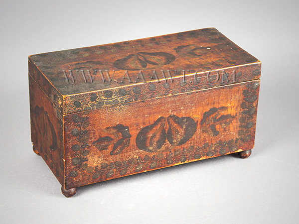 Tea Caddy, Paint Decorated, Estate of James Fenimore Cooper IV America Circa 1825 to 1835, entire view