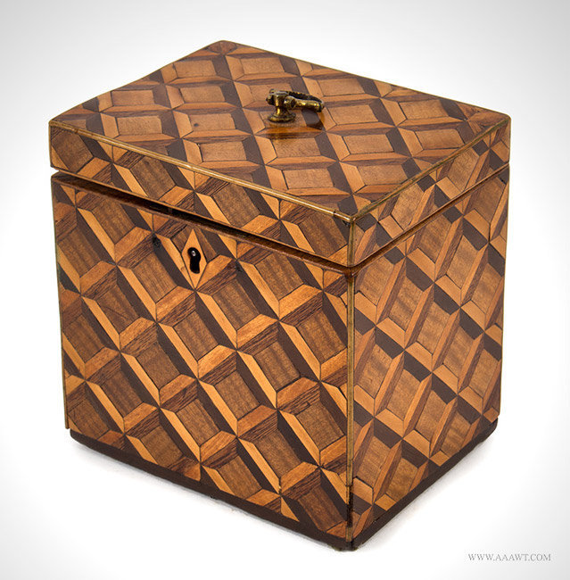 Antique Parquet Tea Caddy with Banded Edged and Brass Hardware, Circa 1820, angle view 1