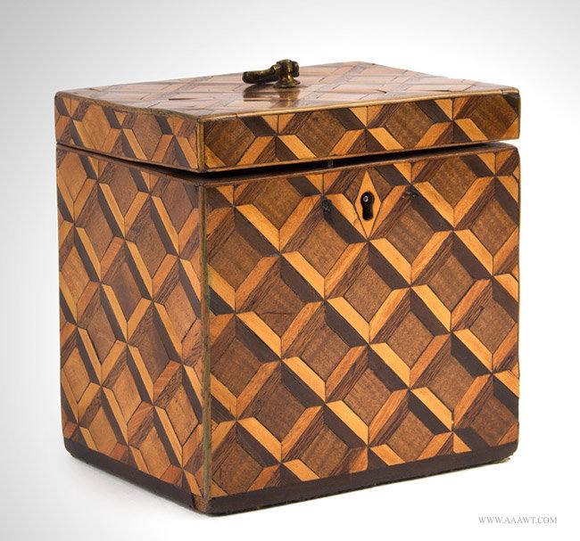 Antique Parquet Tea Caddy with Banded Edged and Brass Hardware, Circa 1820, angle view 2