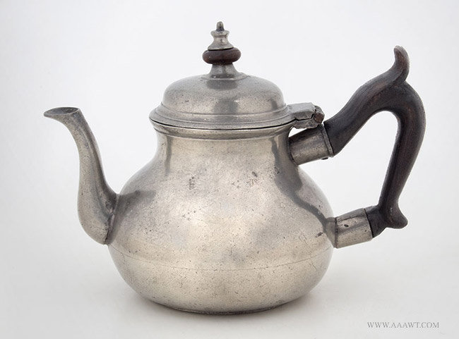 Antique Pewter Teapot by Philip Matthews, London, entire view